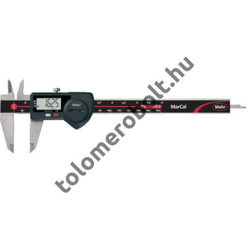 MAHR Digital Caliper REFERENCE, incl. plastic case, battery, with data output – with round depth bar, Measuring range mm/inch: 150 4103014
