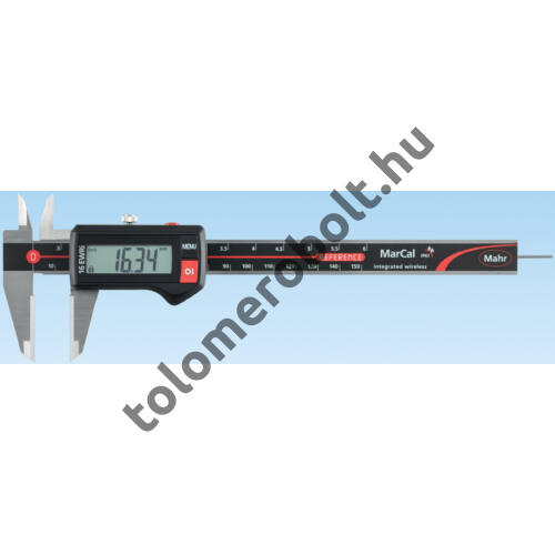 MAHR Digital Caliper REFERENCE, IP 67, special design, incl. case, battery: with round depth bar and ceramic measuring faces, Measuring range mm/inch: 150 4103372