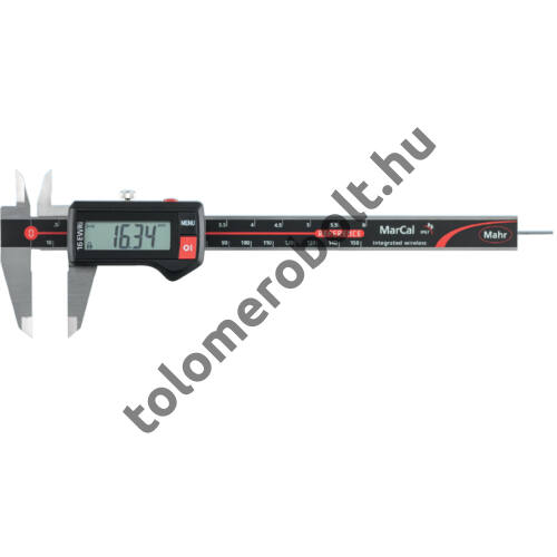 MAHR Digital Caliper REFERENCE, IP 67, water protected, integrated wirelessincl. plastic case, battery - with round depth bar, Measuring range mm/inch: 150 4103400