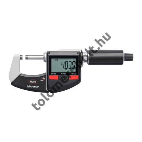 MAHR Digital Micrometer IP 65, [17], water protected, switchable metric/inch with integrated wireless interface, incl. plastic case (setting piece as of meas. range 25-50 mm), battery , Measuring range mm/inch: 0-25 4157100