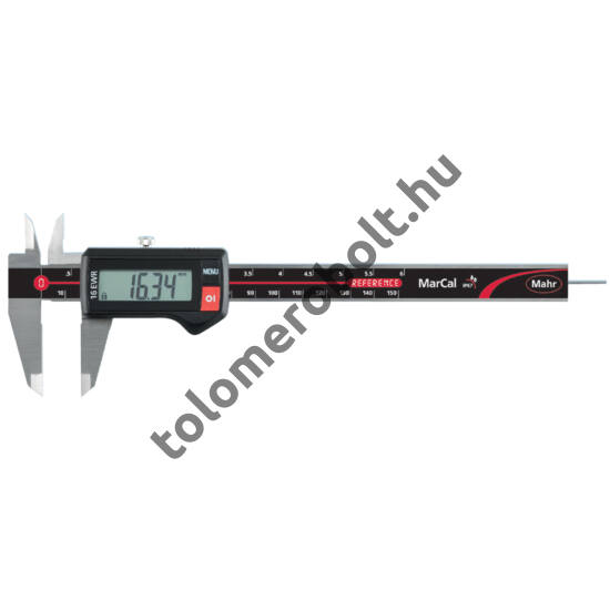 MAHR Digital Caliper REFERENCE, IP 67, water protected incl. plastic case, battery, without data output – with round depth bar, Measuring range mm/inch: 150 4103300