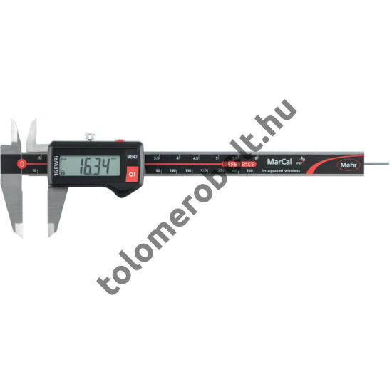 MAHR Digital Caliper REFERENCE, IP 67, water protected, integrated wirelessincl. plastic case, battery - with rectangular depth bar, Measuring range mm/inch: 150 4103402