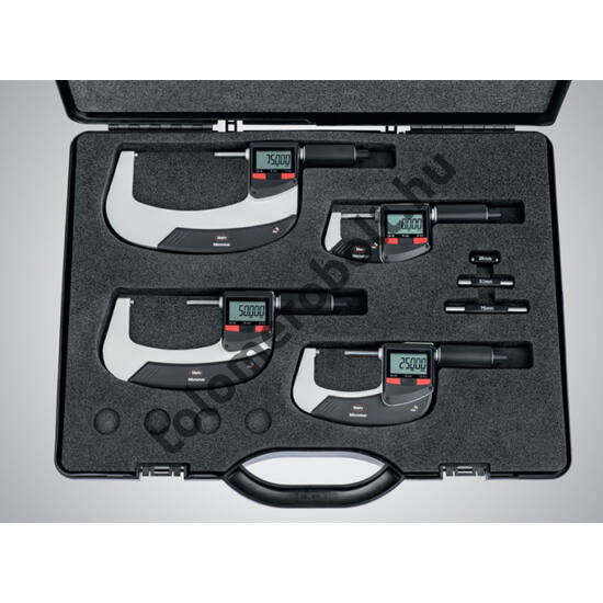 MAHR Digital Micrometer in set IP 65, [17], water protected, switchable metric/inch with integrated wireless interface, incl. plastic case (setting pieces 25, 50 and 75 mm), battery , Measuring range mm/inch: 0-100 4157115